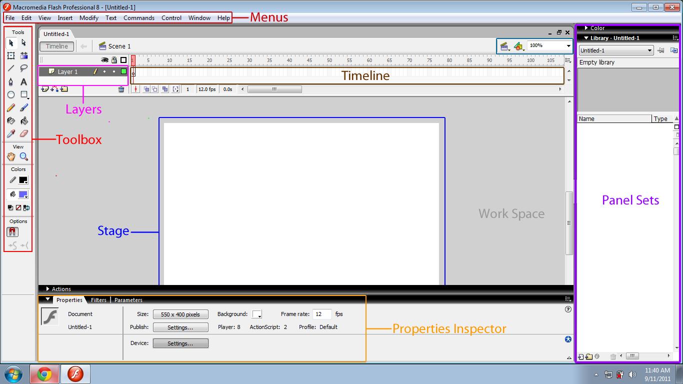 Flash 8 User Interface Macromedia